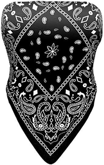 Black Bandana Tube Top-FEOYA