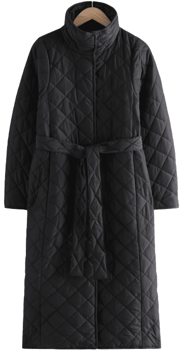 Black Belted Quilted Coat-& Other Stories
