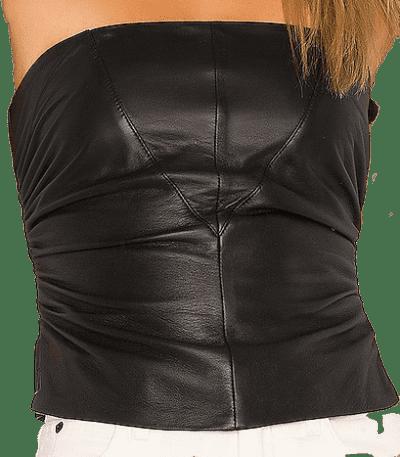 Black Bianca Leather Corset Top