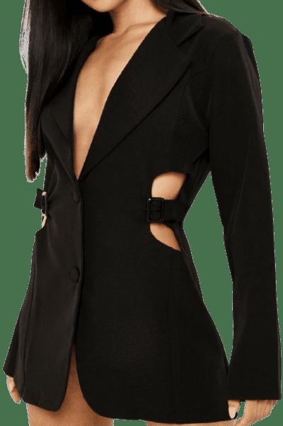 Black Buckle Detail Cut Out Blazer Dress-Boohoo