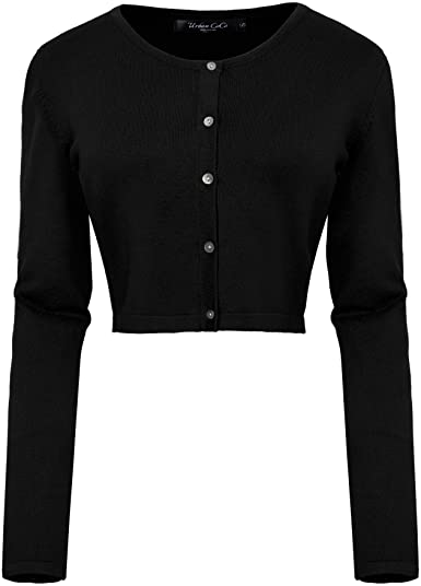 Black Button Down Cropped Cardigan-Urban CoCo