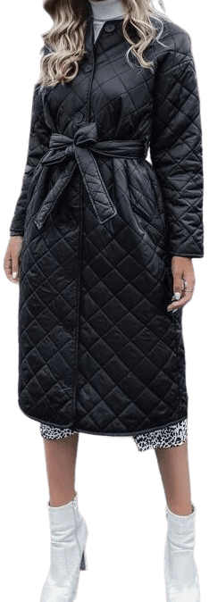 Black Button Front Belted Quilted Coat-Shein