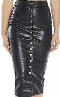 Black Button Front Vegan Leather Midi Skirt