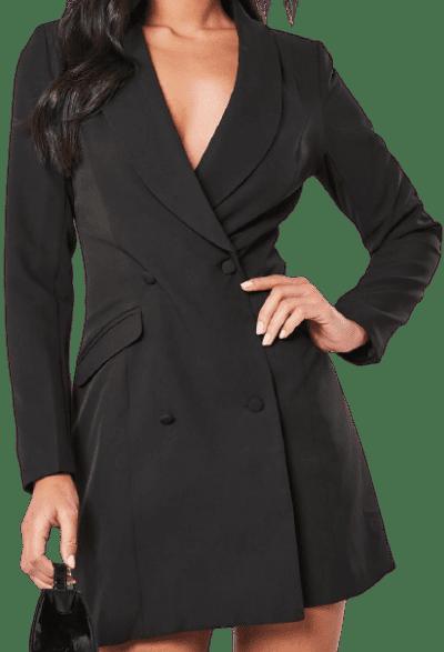 Black Button-Up Blazer Dress