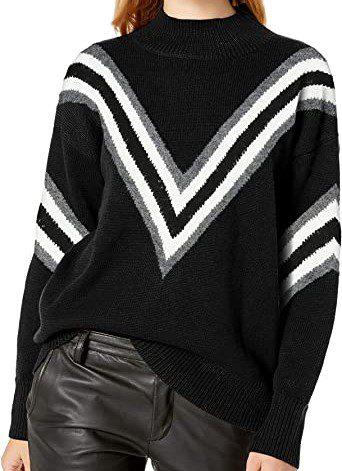 Black Chevron Mock Neck Sweater-Cable Stitch