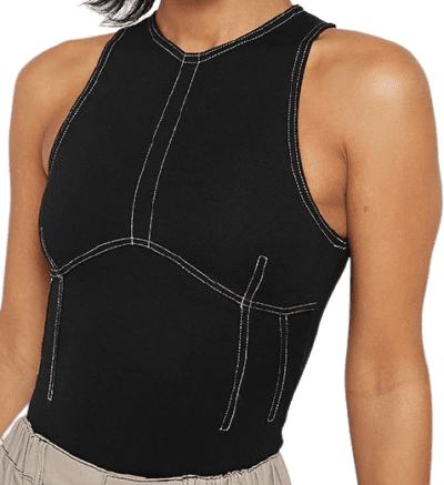 Black Contrast Stitch Racer Bodysuit