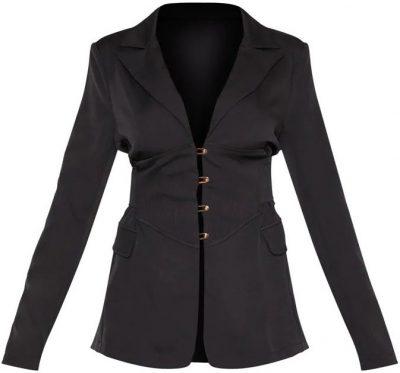 Black Corset Woven Blazer-Prettylittlething