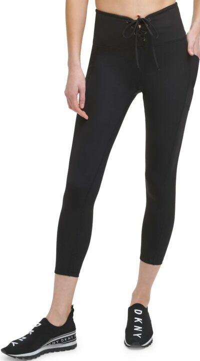 Black Cropped Lace-Up Leggings-DKNY