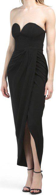 Black Designed In Australia Core U Wire Bustier Draped Dress-TJ Maxx