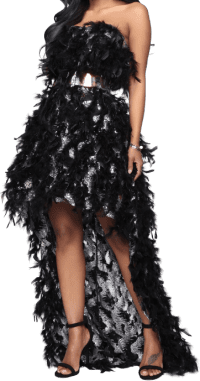 Black Exotic Mind Feather High Low Maxi Gown-Fashion Nova
