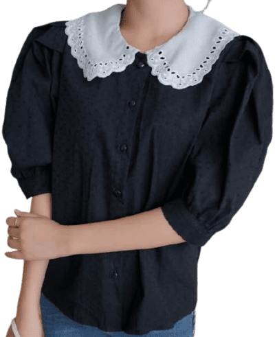 Black Eyelet Embroidered Doll Collar Blouse-DAZY