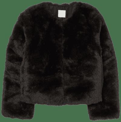 Black Faux Fur Jacket-H&M