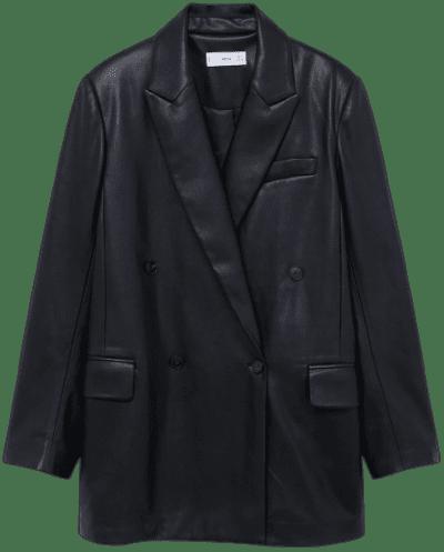 Black Faux-Leather Double-Breasted Blazer-Mango