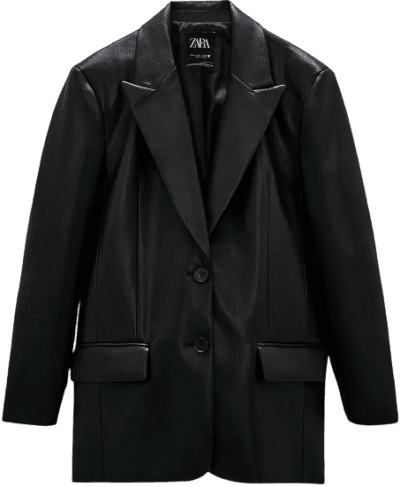 Black Faux Leather Oversized Blazer