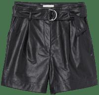 Black Faux Leather Shorts-H&M