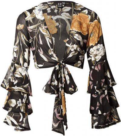Black Floral Tie Front Crop Top-Izabel London