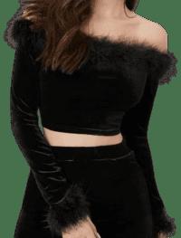 Black Fuzzy Trim Off Shoulder Velvet Top-Shein