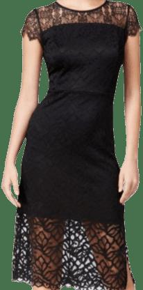 Black Geo Leaf Lace Dress