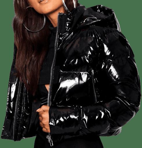 Black Hooded Crop High Shine Coat-Boohoo