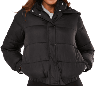 Black Hooded Puffer Jacket-Missguided