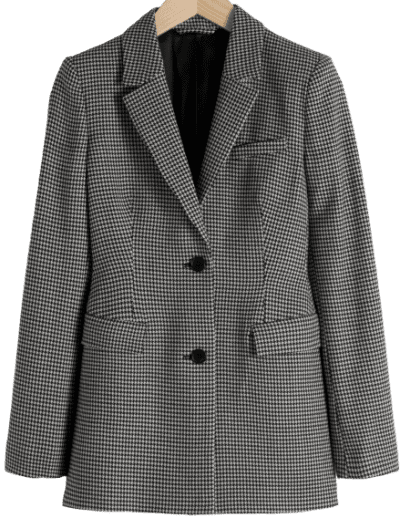 Black Hourglass Houndstooth Blazer-& Other Stories