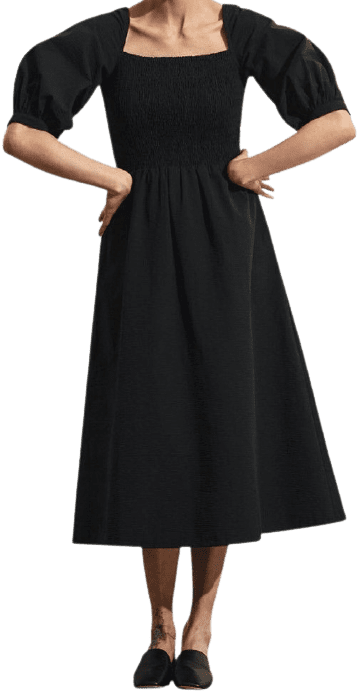 Black Jacintha Smocked Midi Dress-Stylein