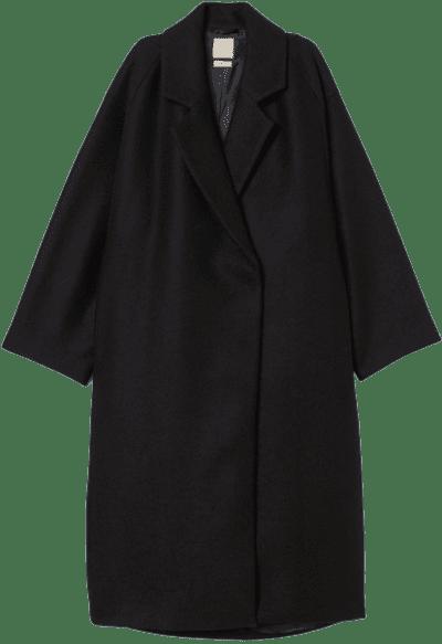Black Knee-Length Wool-Blend Coat-H&M