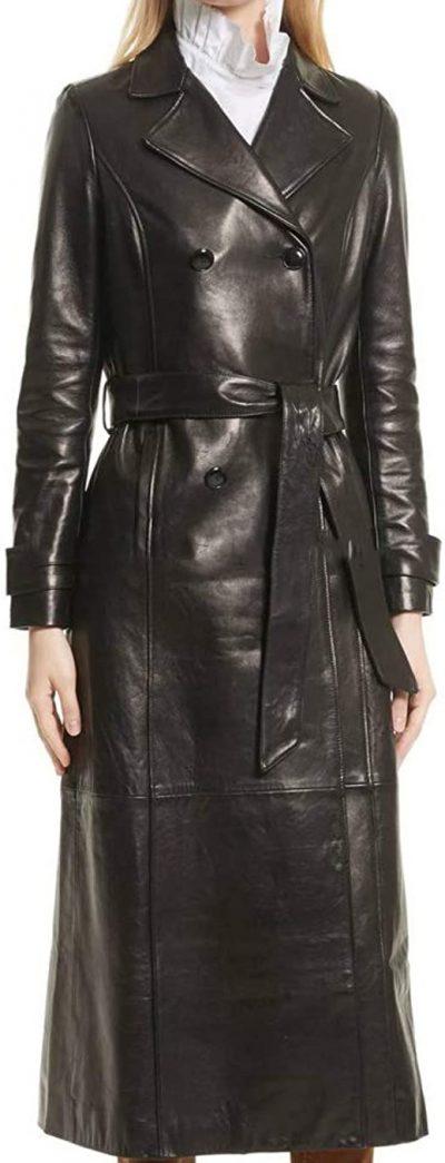 Black Lambskin Leather Trench Jacket-Koza Leathers
