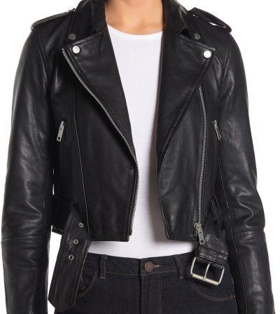 Black Leather Belted Cropped Biker Jacket