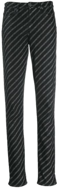 Black Logo Printed Jeans