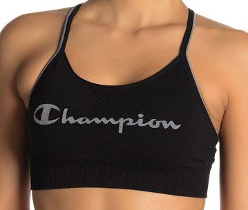 Black Logo Racerback Sports Bra-Champion