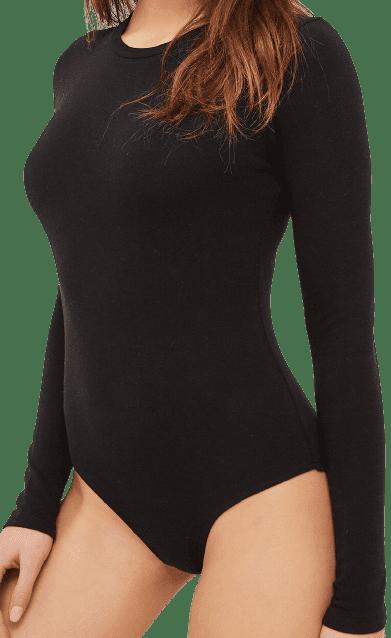 Black Long Sleeve Bodysuit-Ardene