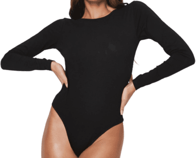 Black Long Sleeve Scoop Back Bodysuit-Missguided