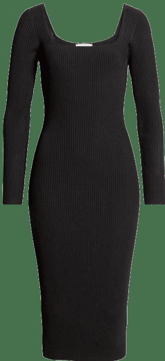 Black Long Sleeves Midi Sweater Dress