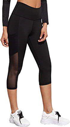 Black Mesh Panel Capri Leggings-SweatyRocks