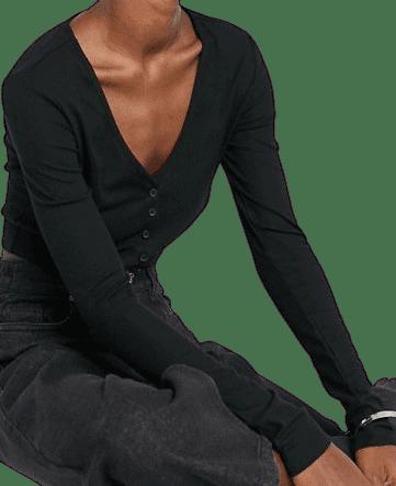 Black Modal Cropped Cardigan