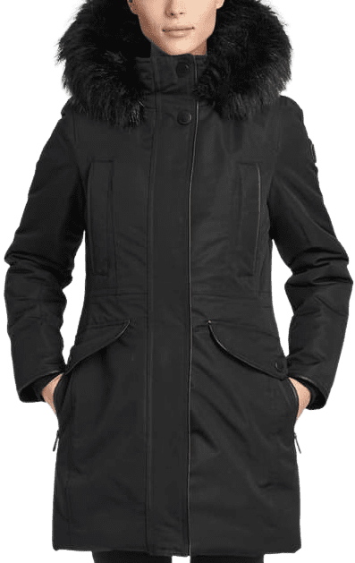 Black Nicole Faux Fur Trim Parka-NOIZE