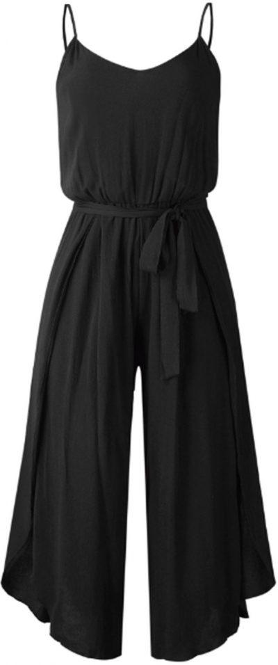 Black Norah Wide Leg Open Slit Jumpsuit-Goodnight Macaroon