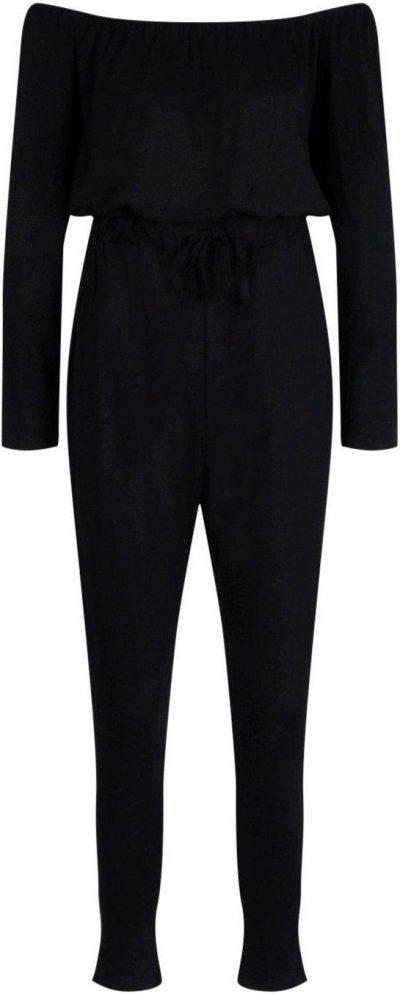 Black Off The Shoulder Tie Waist Jumpsuit-Boohoo