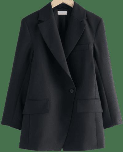 Black Oversized Asymmetric Blazer