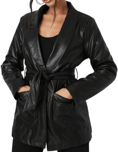 Black Oversized Belted Faux Leather Jacket-Missguided