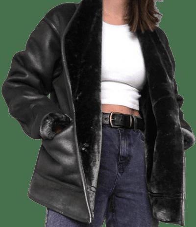 Black Oversized Collar Aviator Jacket-Asos Design