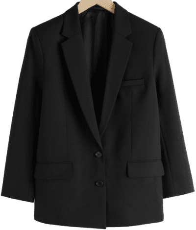 Black Oversized Wool Blend Blazer-& Other Stories
