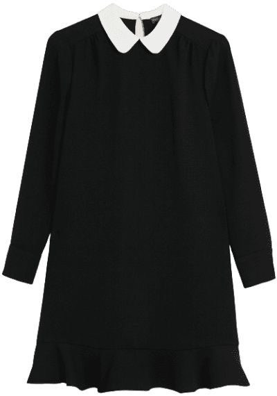 Black Peter Pan Collar Mini Swing Dress-Marks and Spencer