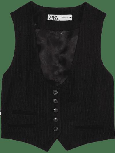 Black Pinstripe Vest-Zara