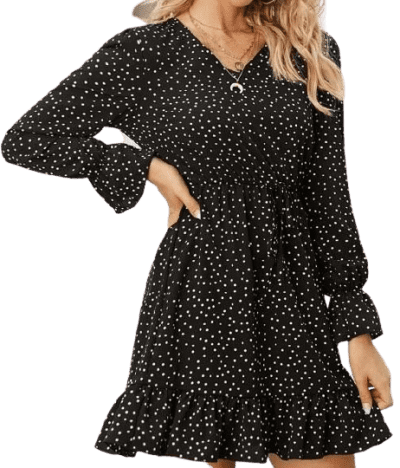 Black Polka Dot Ruffle Hem Dress-Shein