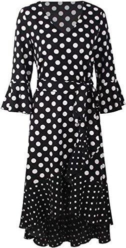 Black Polka Dot V Neck Midi Dress-Halfword