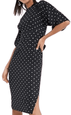Black Polka Kimono Sleeve Midi Dress