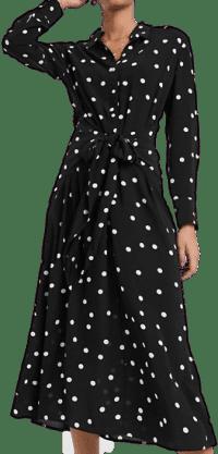 Black Polta Dot Tie-Front Midi Dress