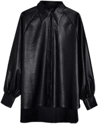Black Relaxed-Fit Faux-Leather Shirt-Topshop